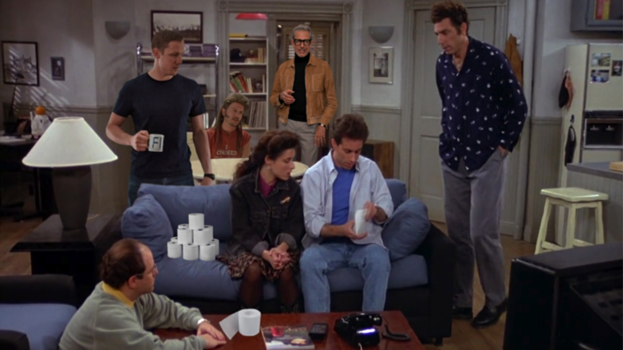 The living room of Seinfeld with Jeff Goldblum and Joe Dirt and toilet paper.
