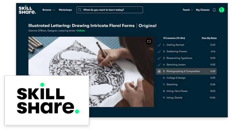 Screenshot of Skillshare interface for an Illustration class.