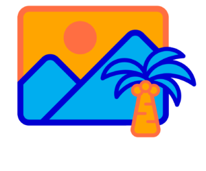 Illustration of mountains and a palm tree.