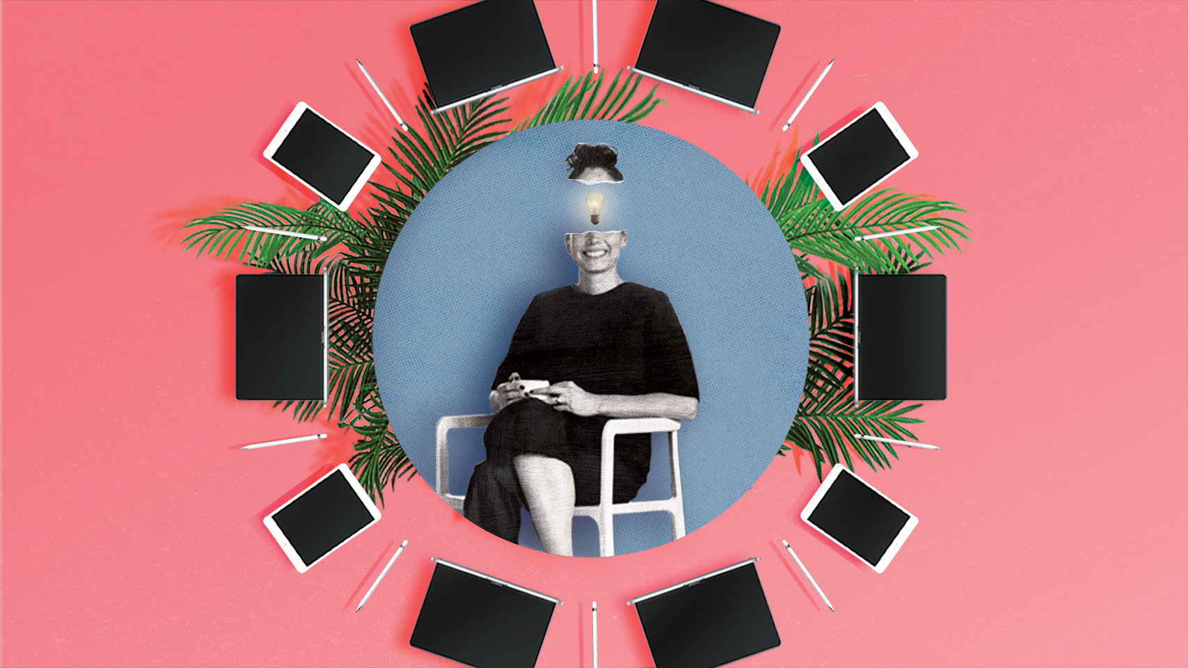 A woman in the center with a light bulb on her forehead surrounded by plants and Apple products.