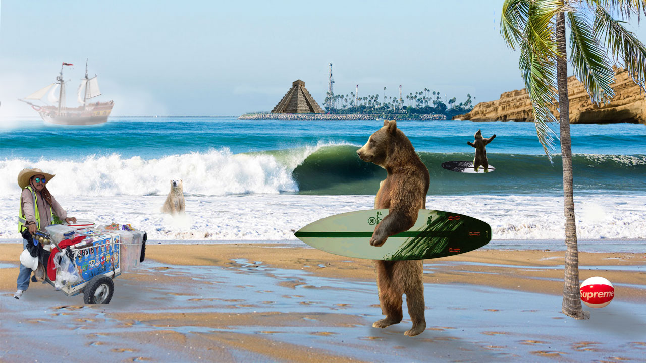 A beach with bears on the beach and riding a wave.