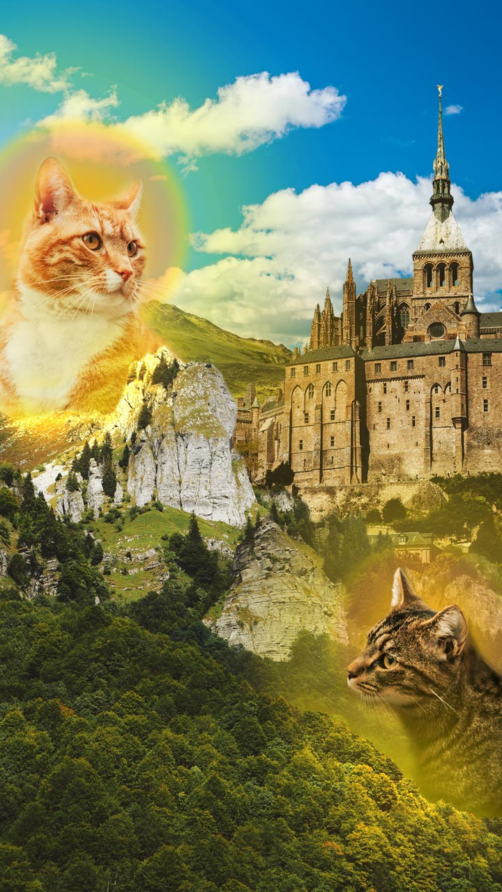 A magical landscape with mountains and castle with two giant god like house cats.