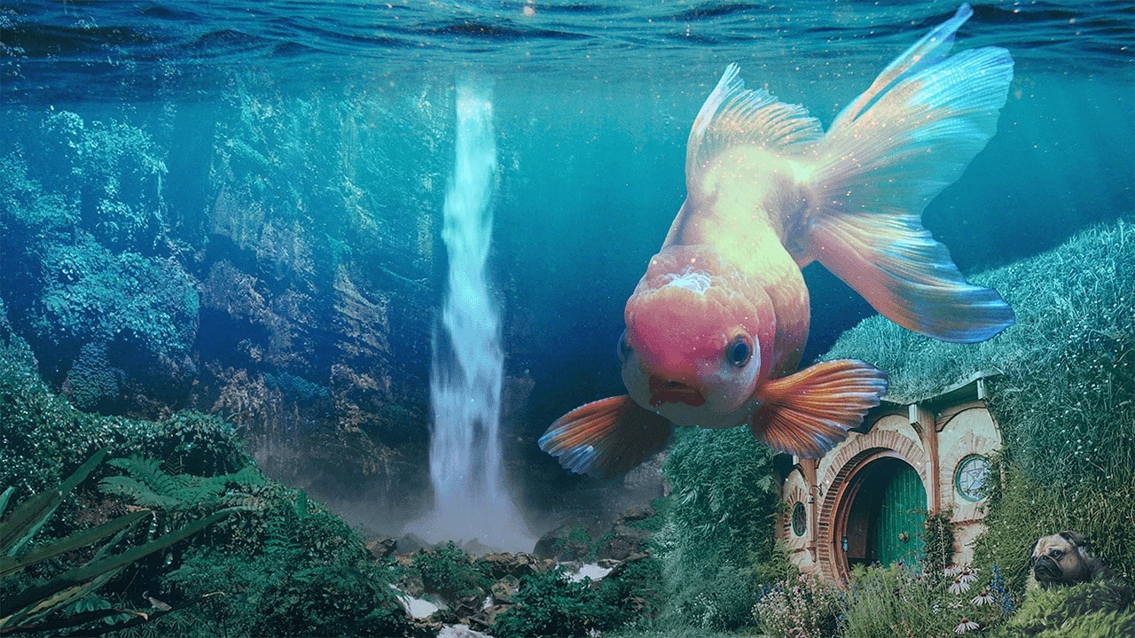 A fish swimming underwater with a waterfall and a Hobbit home.