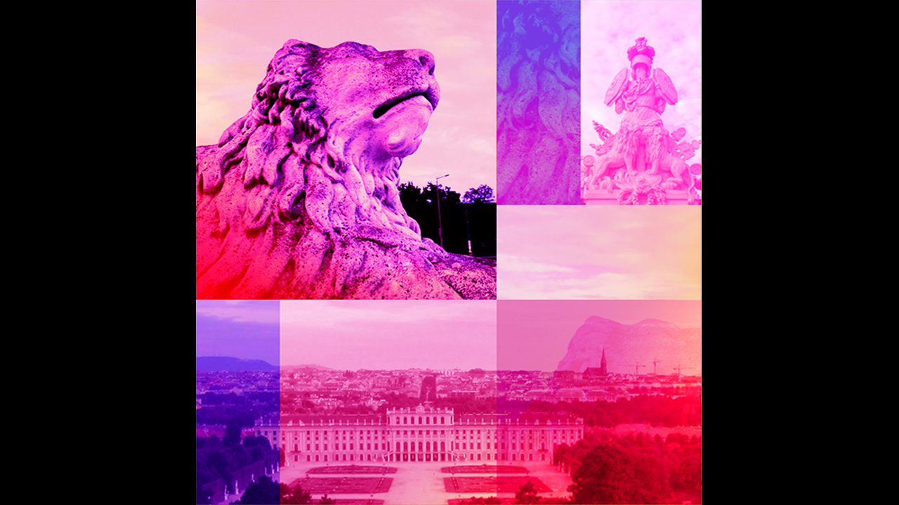 A collage of Schoebrunn Palace in Vienna.