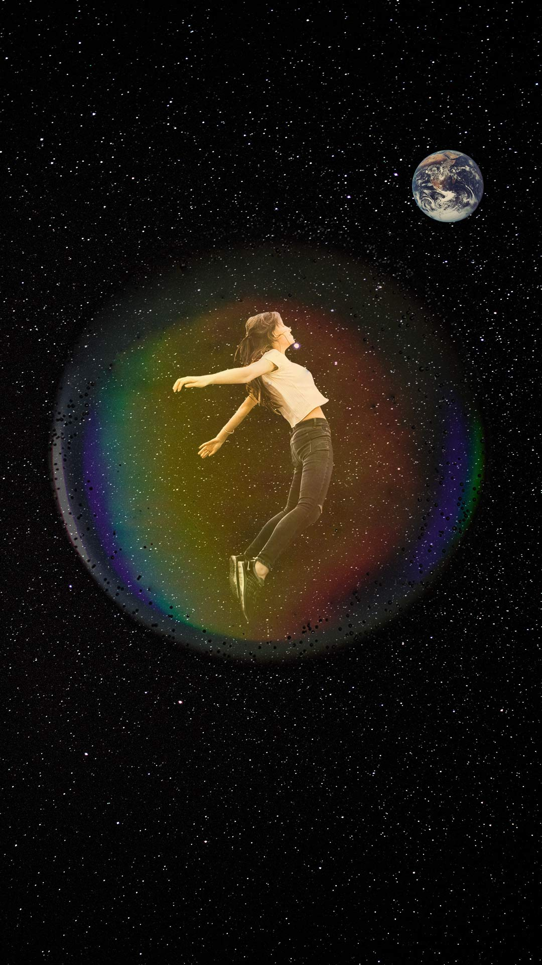 A woman floating inside a bubble in space looking at Earth.