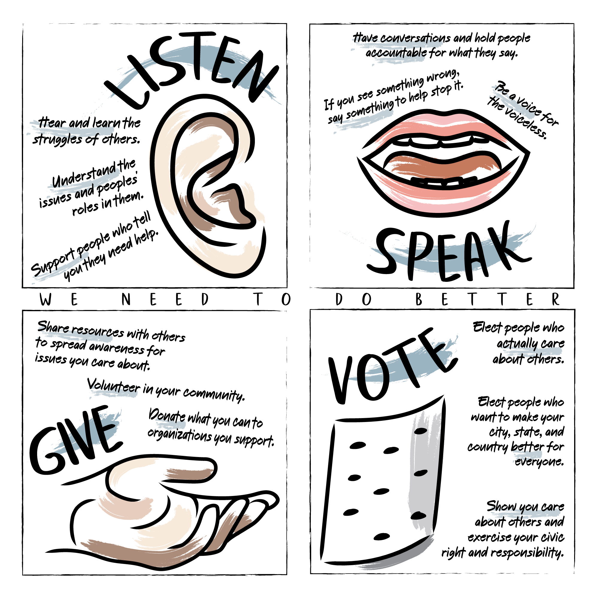 Listen, speak, give, vote.